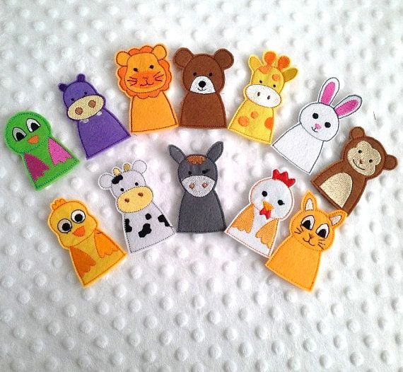 12 pcs Animal Finger Puppets - Kids Felt Puppet, Children Felt Toys, Animals Set