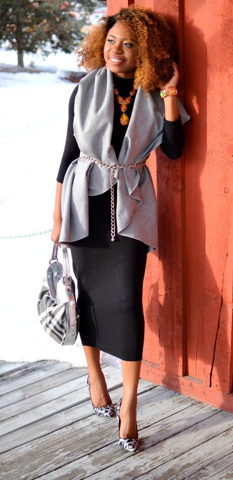 Alaska fashion blogger effortlessly mixes prints and neutrals. Black bodycon midi dress + grey lapel vest with sequin glitter leopard pumps Fashion blogger | Black blogger |  Spring fashion | Blogger style