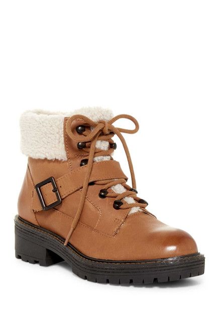 Image of Kelsi Dagger Brooklyn Monroe Genuine Shearling Detail Lace-Up Boot