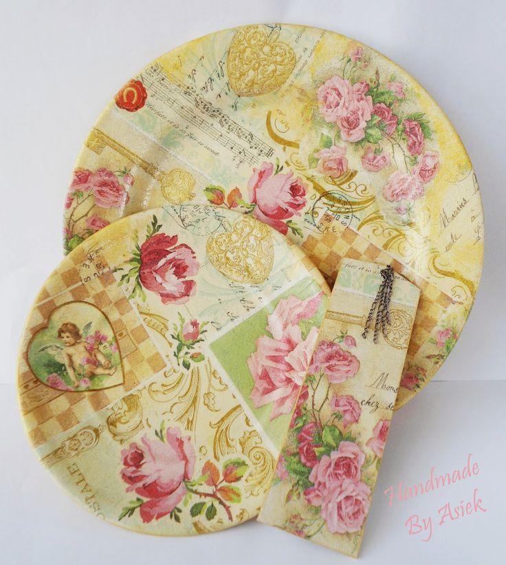 Handmade By Asiek: Talerze dekoracyjne, czyli kolejny upcykling  :-)