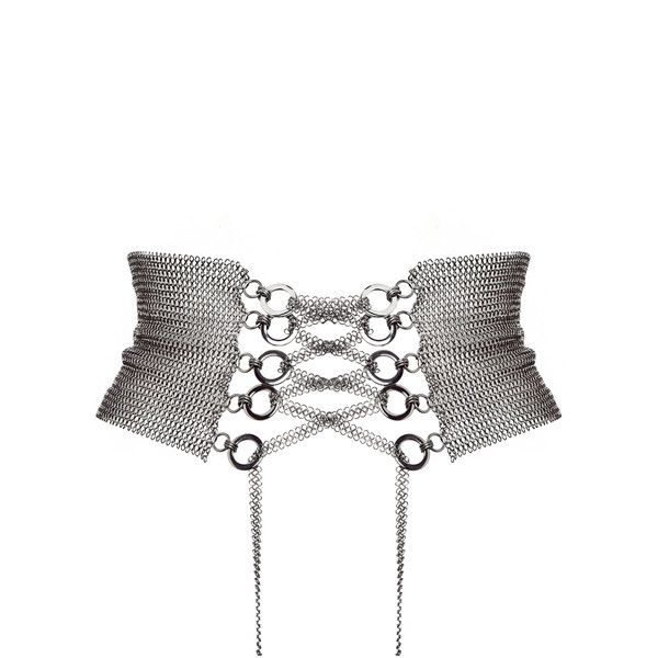 Fannie Schiavoni     Lace Up Belt ($510) ❤ liked on Polyvore featuring accessories, belts, corset, silver, wide silver belt, fannie schiavoni, silver belt and wide belt