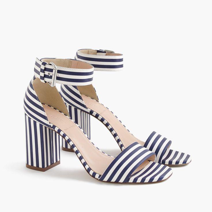Striped strappy high-heel sandals : sandals | J.Crew