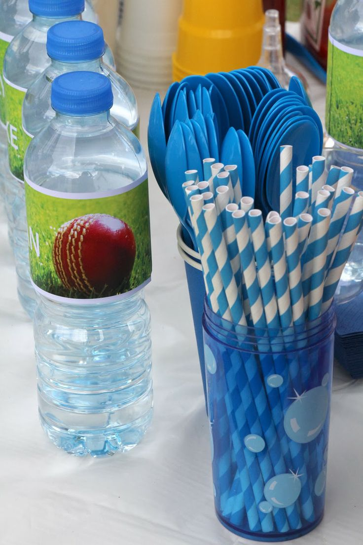 Cricket Party Water Bottles - 6th Birthday Party!