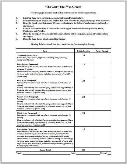 history essay rubric The rubrics for the ap history document-based question (dbq) and long essay  question (leq) have been modified for the 2017–18 school year, using.
