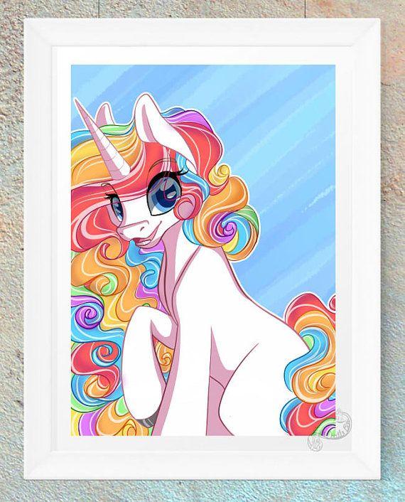 Unicorn paard Pony Rainbow Fan Art Print dierlijke kunst Art