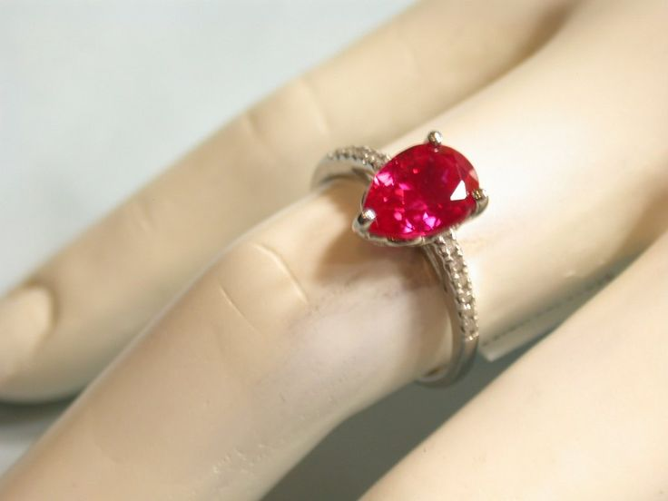 .925 Sterling Silver & 18k White Gold & Genuine Diamonds & Ruby Ring