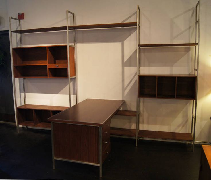 Walnut Modular Wall Shelving System With Desk By Paul McCobb For H. Sacks