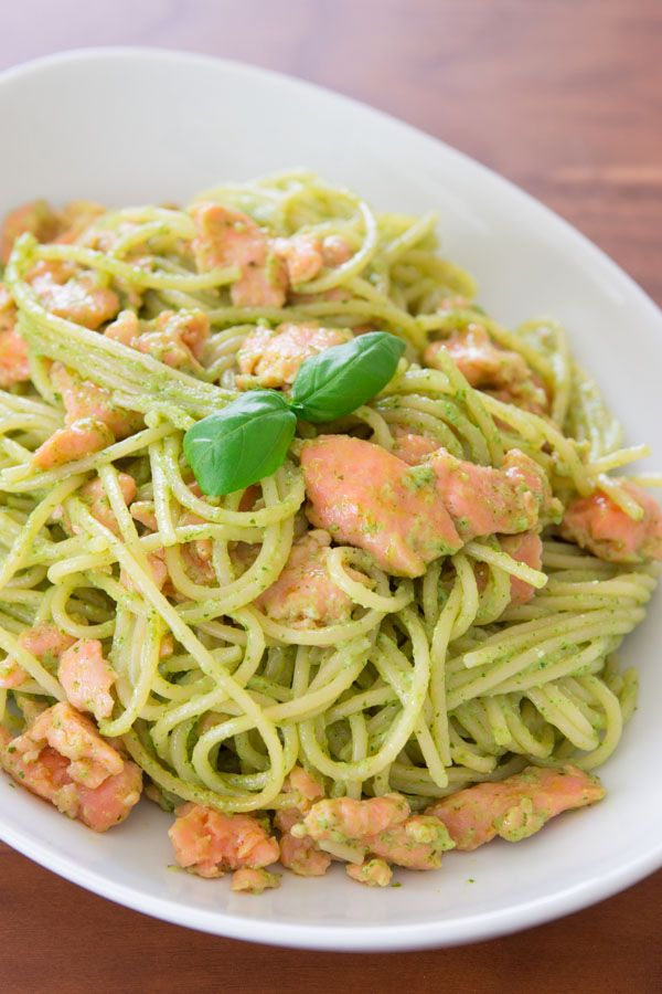 Smoked Salmon Pasta with Basil Cream Sauce.  Recipe just under the picture (click on 'continue').