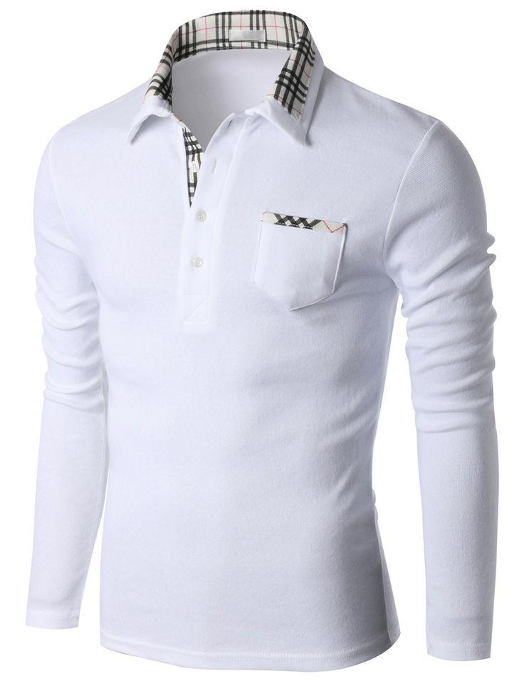 Doublju Men's Double Check Collar Long Sleeve Jersey Polo T-shirt (KMTTL0147) #doublju