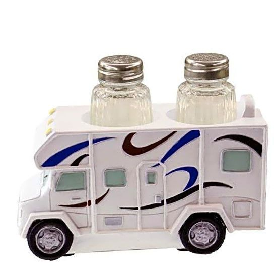 ThisRV Salt/Pepper And Napkin Holder Set is made of polystone. Includes 2 glass shakers as shown. Also holds napkins between RV and sign. Sign reads: Home Is Where We Park It. RV Salt/Pepper And Napkin Holder Set! | eBay!