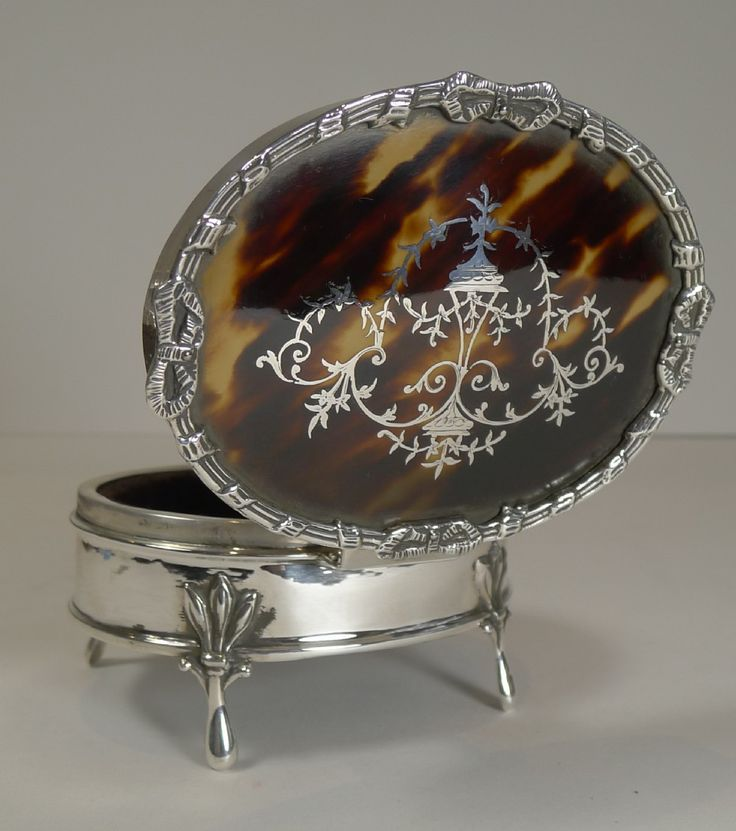 Superb Antique English Sterling Silver and Tortoise Shell jewellery Box by Charles Boyton