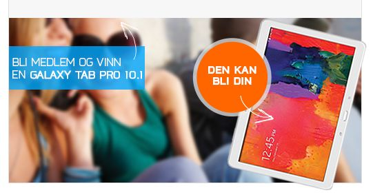 Bli Club Trendy-medlem og vinn en Samsung Galaxy TAB PRO 10.1.  Premiekonkurransen avsluttes den 01.08.2014. Les mer her: http://www.mytrendyphone.no/shop/b2blogin.html
