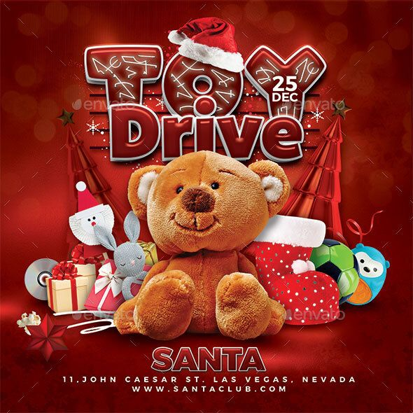 Drive Christmas 2020 Christmas Toy Drive Flyer Template PSD in 2020   Christmas toy