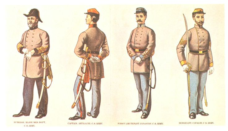 Confederate officer and non commissioned officer uniforms.