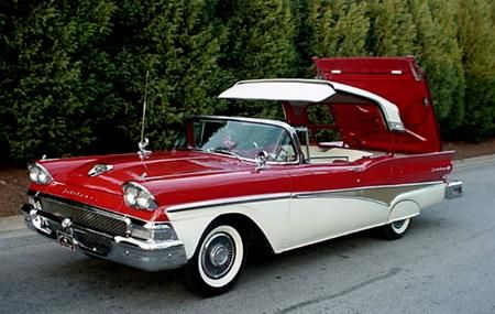 1957 Ford Fairlane Skyliner. It featured an ingenious and complex system for retracting the hardtop into the trunk area.