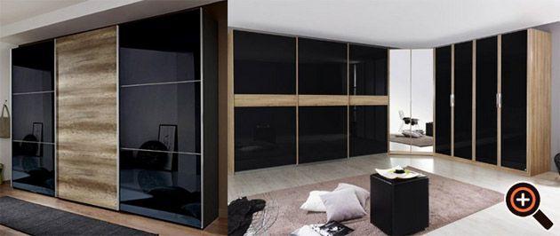Kleiderschrank schwarz Begehbarer & mit Schwebetüren und Spiegel