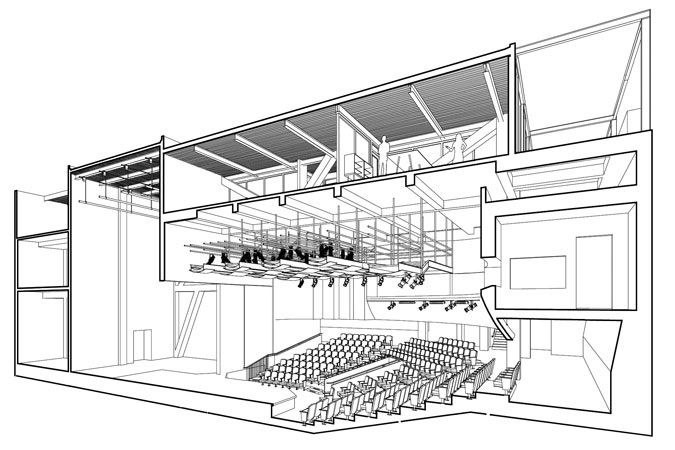 auditorium design plan | Left to right: Diagram of the auditorium with support spaces above ...