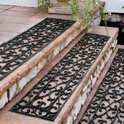 "48""W Set of 3 Extra Wide Elegant Outdoor Black Scrollwork Rubber Non Slip Stair Treads Mat"