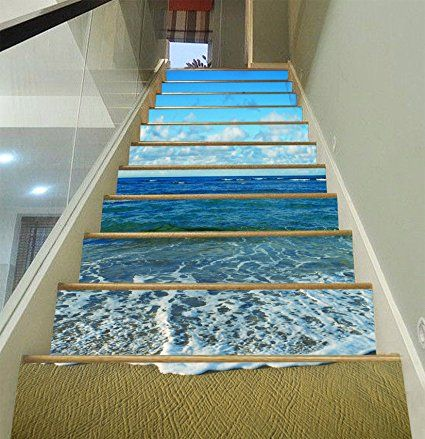 Stair Riser Decals. DIY Removable Vinyl Murals For Steps. 3D Beautiful  Beach 694 Stair
