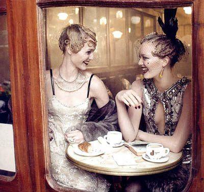 Paris Je T'aime, layout, 1920s, flappers, cafe;  Steven Meisel photos, Grace Coddington styling, Vogue September 2007