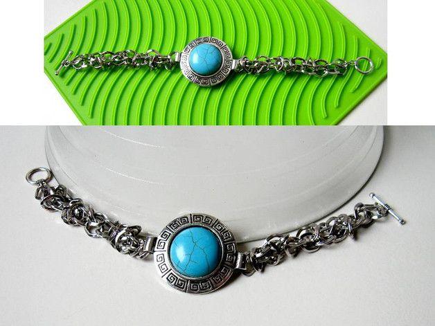 Bracelets – Turquoise Embeded Pendant Bangle Bracelet – a unique product by ROPARTMIX on DaWanda