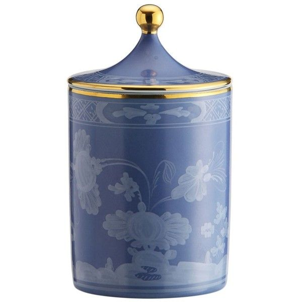 Richard Ginori 1735 Home Oriente Italiano Collection Candle found on Polyvore featuring home, home decor, candles & candleholders, blue, colored candles, handmade candles, oriental home decor, blue candles and asian home decor
