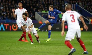 Leicester City's Marc Albrighton fires in the Foxes' second.