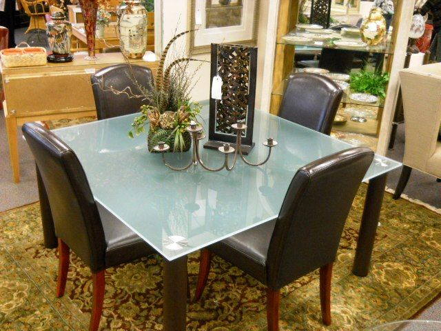 Beautiful Gently Used Dining Room With Frosted Glass Top.  Www.pastperfectconsignment.com
