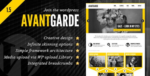 Avantgarde Creative Theme   http://themeforest.net/item/avantgarde-creative-theme/1580574?ref=damiamio           Avantgarde is a creative wordpress theme with a unique design feel suited to showcase your works or simply blogging.  Features   Creative design  Intuitive, simply to use white label admin panel  Simple, lightweight yet powerful framework, easy to customize  more than 40 shortcodes  switch between left and right aligned sidebar  option to display the slider on all interior pages…