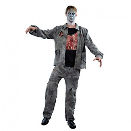 disfraces halloween hombre disfraz de zombie con pecho contiene pantalon harapiento y chaqueta con