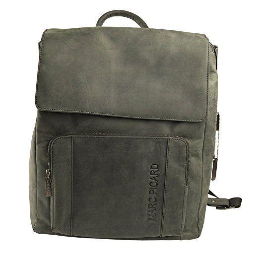 Marc Picard handgearbeitete sehr großer Hunter Lederrucksack Größe XL Laptop Rucksack bis 15,6 Zoll, für Damen und Herren, Schulrucksack Uni Reise, Cityrucksack (Schwarz)