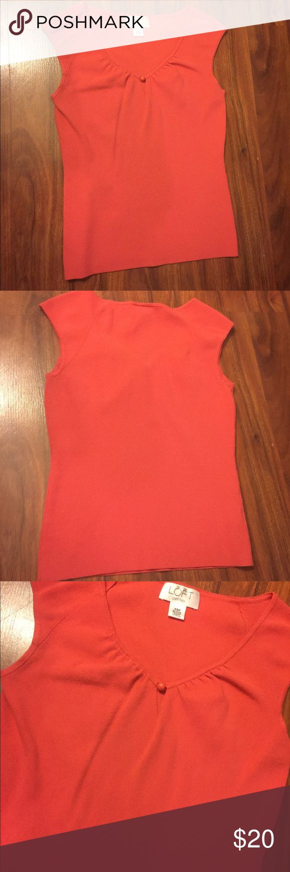 NWOT Ann Taylor Loft petites Knit Top New never worn gorgeous Ann Taylor Summer Coral/ Orange feminine v neck Knit Top. Perfect summer color if you going Boho . Versatile and can be worn with dress pants for work, maxi skirts , mini skirts , jeans and shorts! Must have classic . Rayon, Nylon. Imported from Philippines LOFT Tops