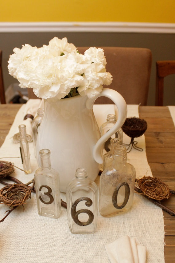 vintage table numbers by bmboone on Etsy, $12.00