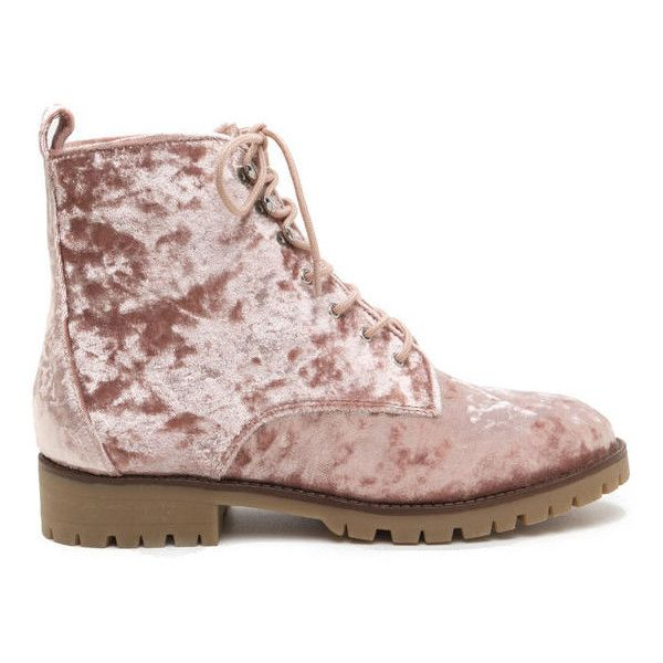 Velvet Touch Lace-Up Combat Boots ❤ liked on Polyvore featuring shoes, boots, combat booties, laced up combat boots, combat boots, front lace up boots and velvet lace up boots