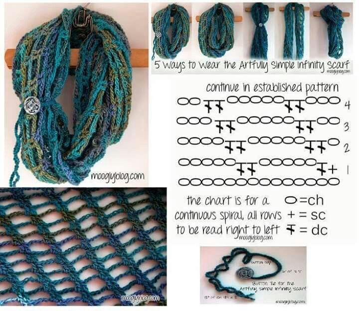 Perfecto Patrón De Crochet Bufanda Ondulación Ornamento - Patrón de ...
