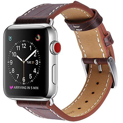 Marge Plus Apple Watch Band 42mm Alligator Texture Leather Straps iWatch Band for Apple Watch Series 3 Series 2 Series 1 Sport Edition - Dark Brown