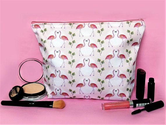 Flamingo makeup bag  large cosmetics case  flamingo lover