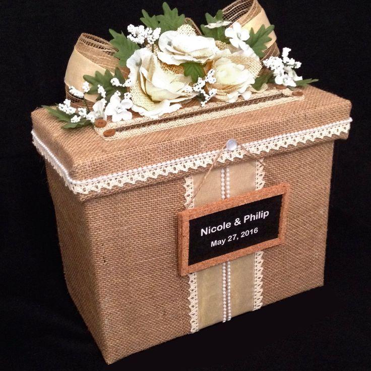wood wedding card holders%0A Rustic Wedding Card Box wedding card box with slot burlap wedding card box rustic  wedding Invitation Wedding Card Box Wedding Card Holder
