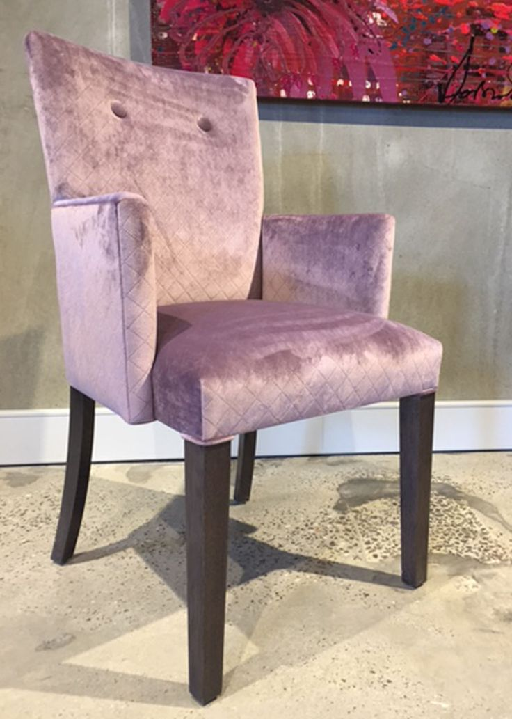 Carver with amethyst laser etched velvet upholstery. jimmy by Jimmy Possum