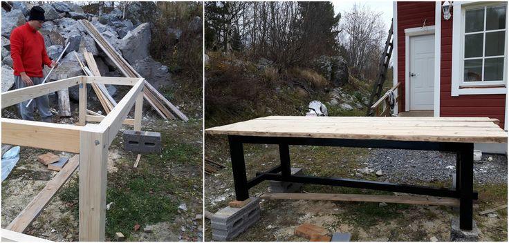 Hej!     Enda sedan vi kom igång med husbygget har jag drömt om ett stort och rymligt matbord av gamla plankor och nu har vi äntligen fått ...
