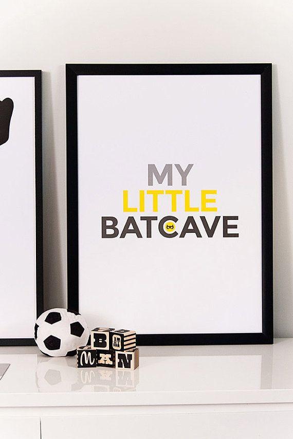 Batcave, superhero art, boys room, playroom art, kids wall art, Batman, Children…