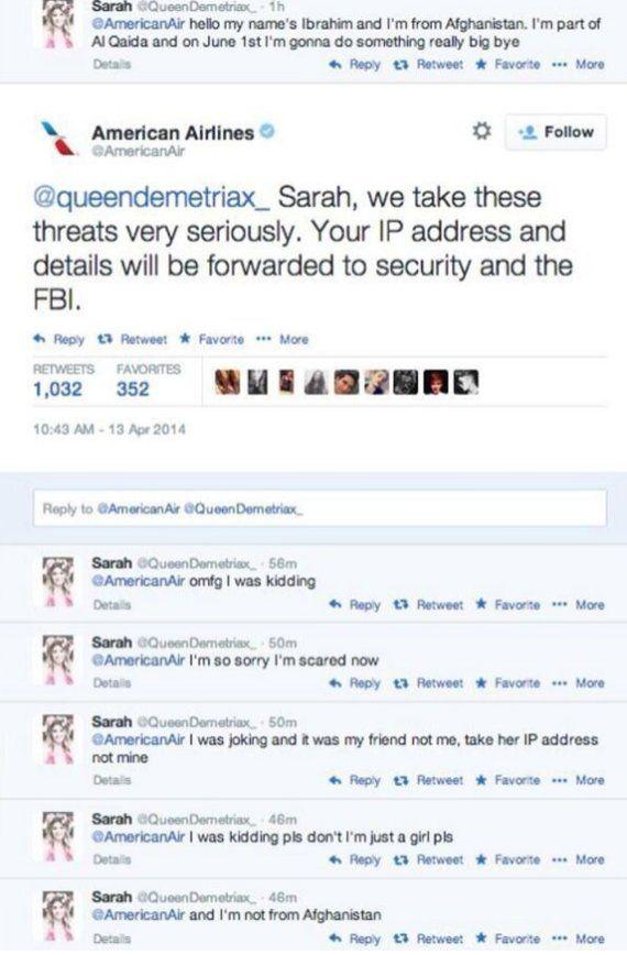 Arrestada una chica de 14 años por amenazar a una aerolínea por Twitter con un atentado / ElHuffPost | #readyforsocialmedia