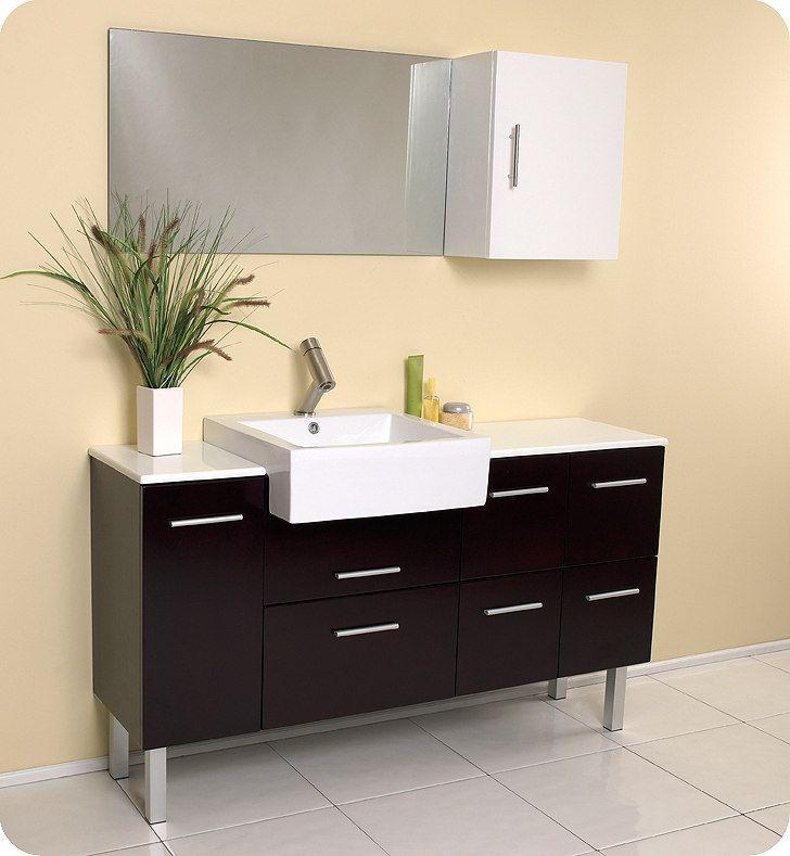 Paris 60-Inch Espresso Double-Sink Bathroom Vanity With Mirrors 625 best single modern bathroom vanities images on pinterest