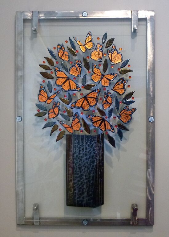 """""""Monarchy"""" dichroic glass and stainless steel by Jackie Mac"""