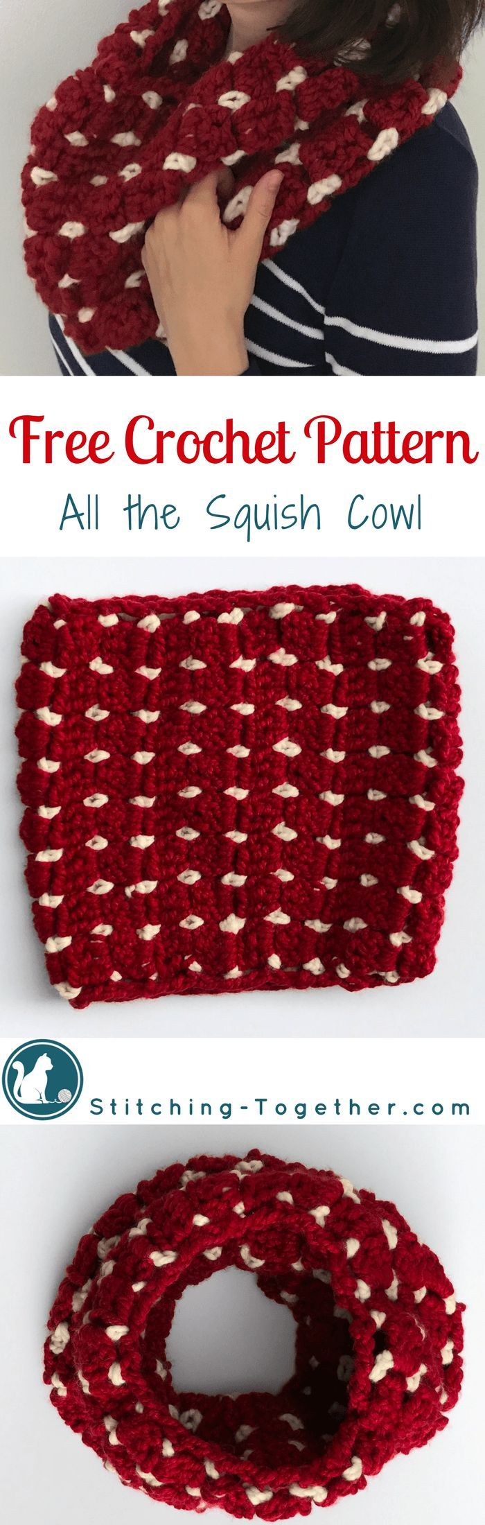 Squishy and warm crochet cowl | Free pattern for an easy crochet cowl by Stitching Together.