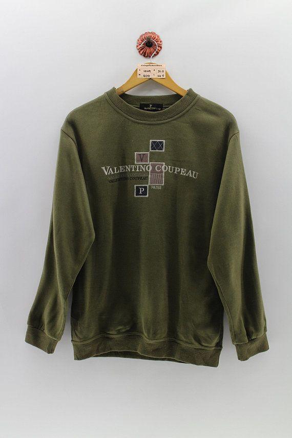 Vintage 90s Valentino Coupeau Sweatshirt Crewneck Valentino Sweater Pullover Valentino Designer Jumper Embroidery Logo Green Size Large