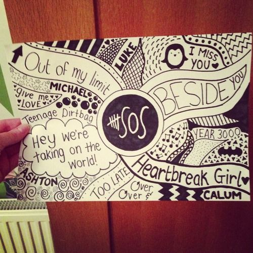 5SOS Lyric Drawings | really liked my other 5sos drawing, so I did another one to put off ...