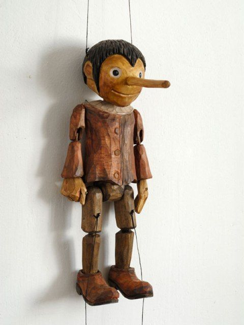 Apparently its for sale. Love the all wood construction. (Pinocchio, marionette puppet, from a Czech artist of carved lime wood. $540.)