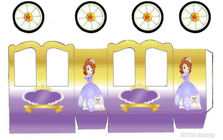 Sofia the First Party: Princess Carriage Shaped Free Printable Boxes.