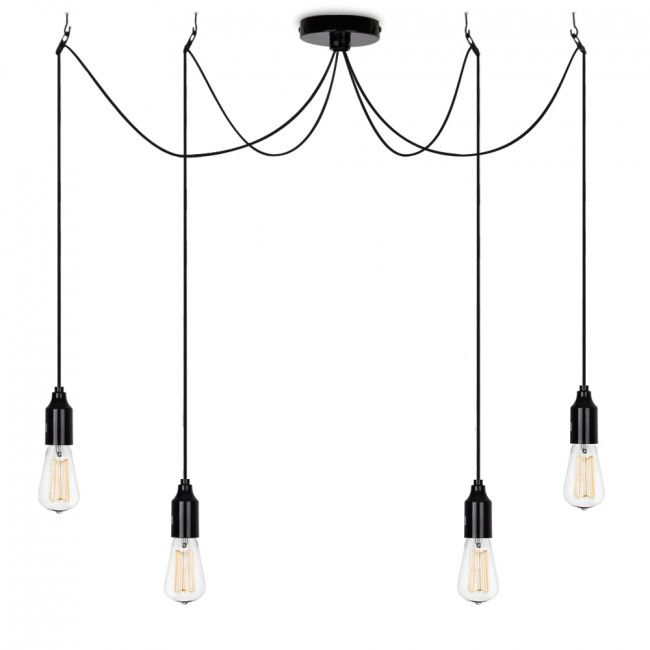 Industrial Style 4 Way Suspended Ceiling Light - Chrome - No Bulb